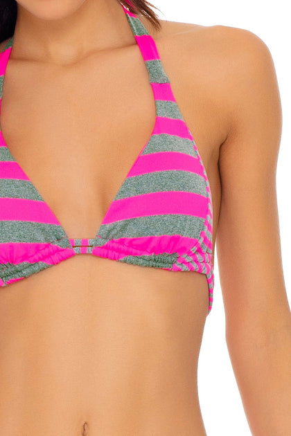 TIME TO FIESTA - Triangle Halter Top & Full Bottom • Neon Pink