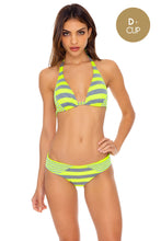 TIME TO FIESTA - Triangle Halter Top & Full Bottom • Neon Yellow