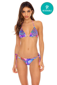PINK LAGOON - Triangle Top & Wavey Ruched Back Tie Side Bottom • Multicolor