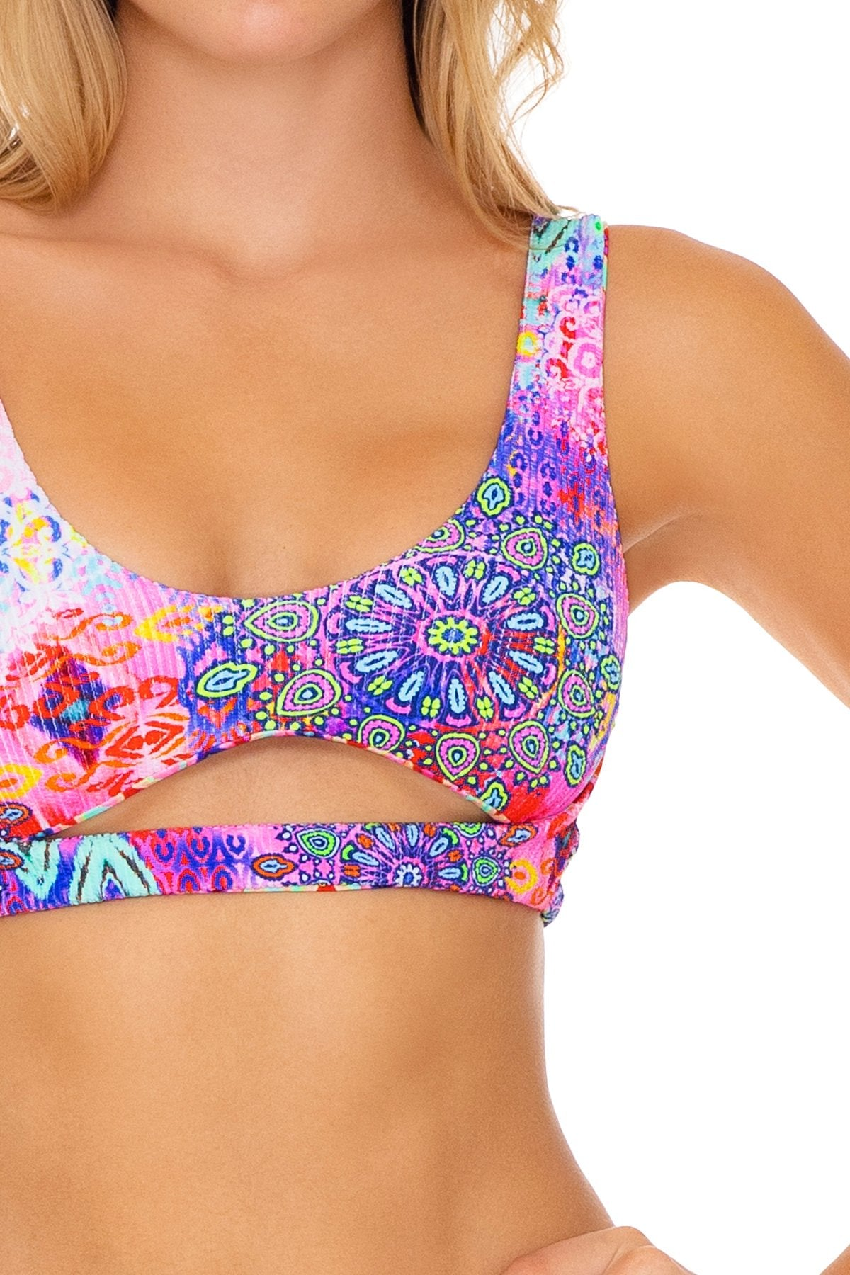 PINK LAGOON - Open Front Bralette & Banded Moderate Bottom • Multicolor