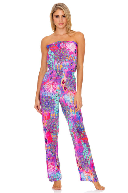 PINK LAGOON - Strapless Ruffle Jumpsuit • Multicolor