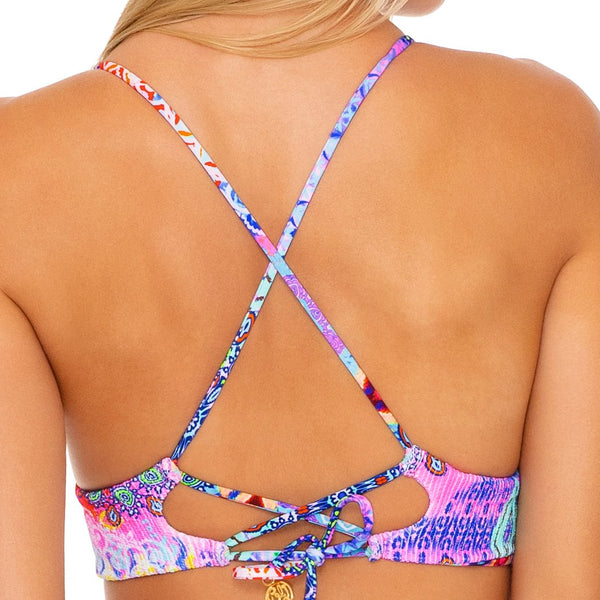 PINK LAGOON - Cross Back Bustier Top