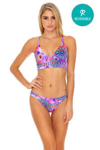 PINK LAGOON - Cross Back Bustier Top & Banded Full Bottom • Multicolor