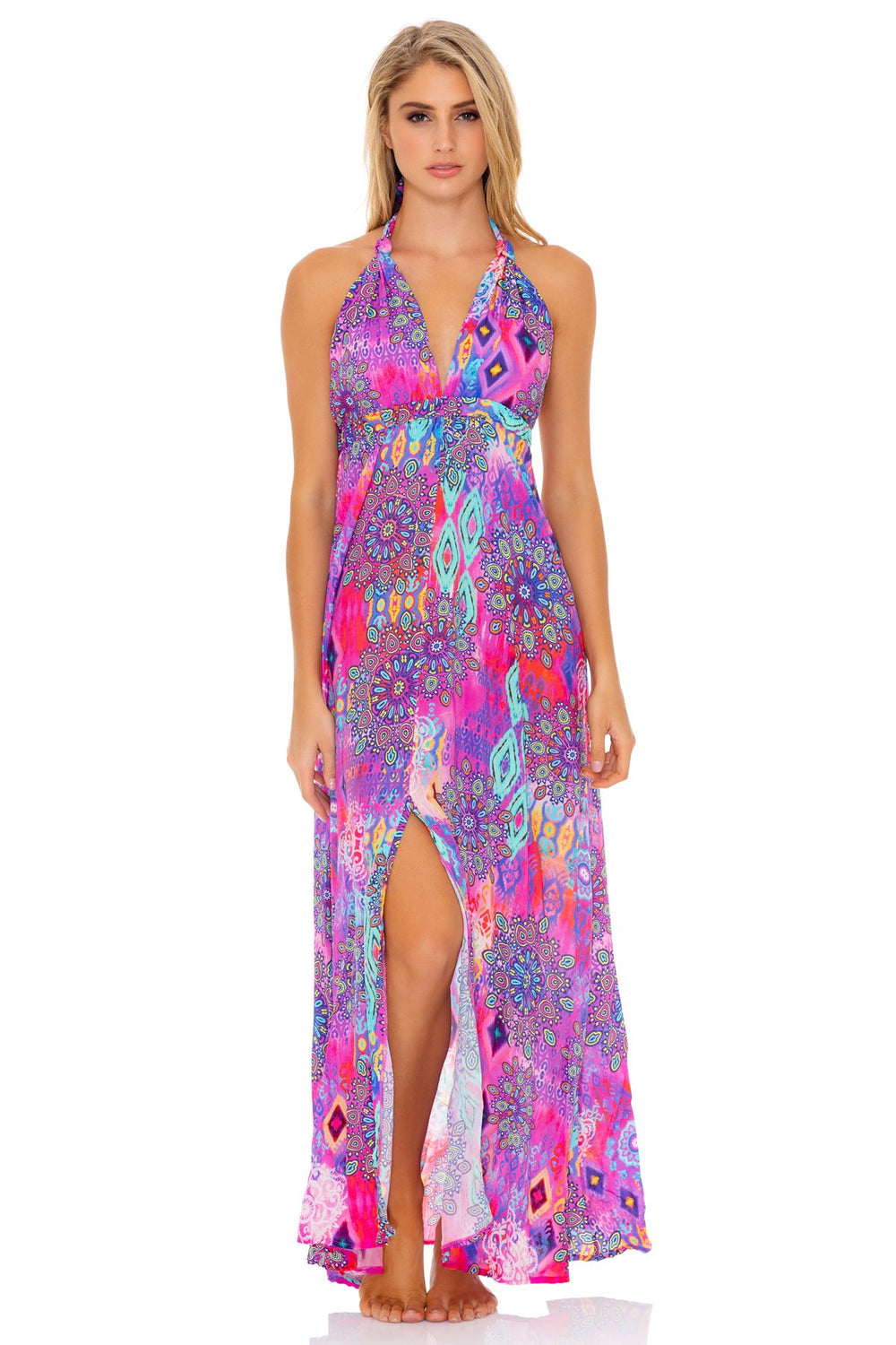 PINK LAGOON - Deep Plunge Long Dress • Multicolor