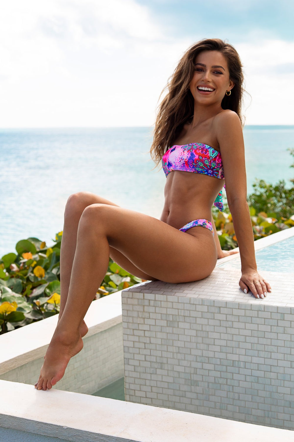 PINK LAGOON - Free Form Bandeau & High Leg Bottom • Multicolor Turks