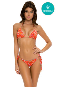 CALYPSO - Triangle Top & Wavey Ruched Back Tie Side Bottom • Rojo