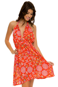 CALYPSO - Deep Plunge Mini Dress • Rojo