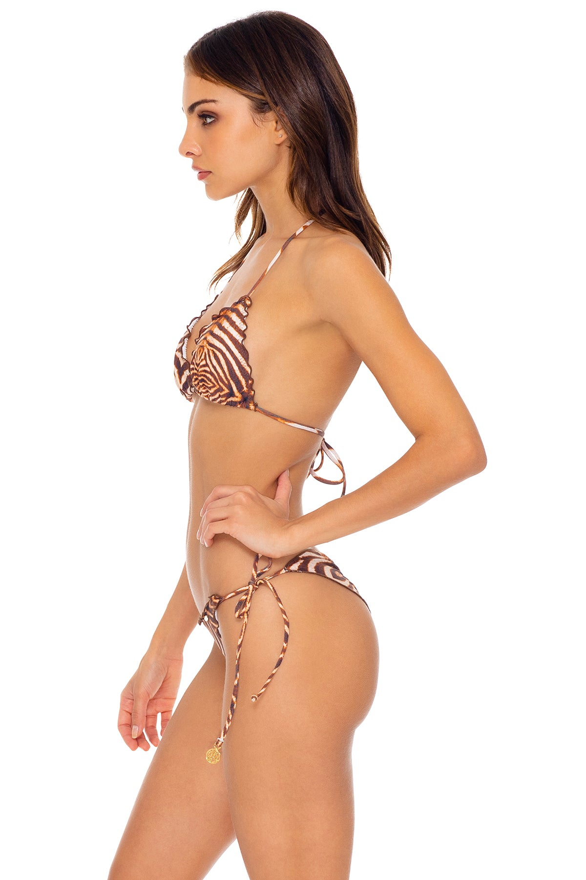 SAFARI DREAMS - Wavey Triangle Top & Wavey Ruched Back Tie Side Bottom • Brown