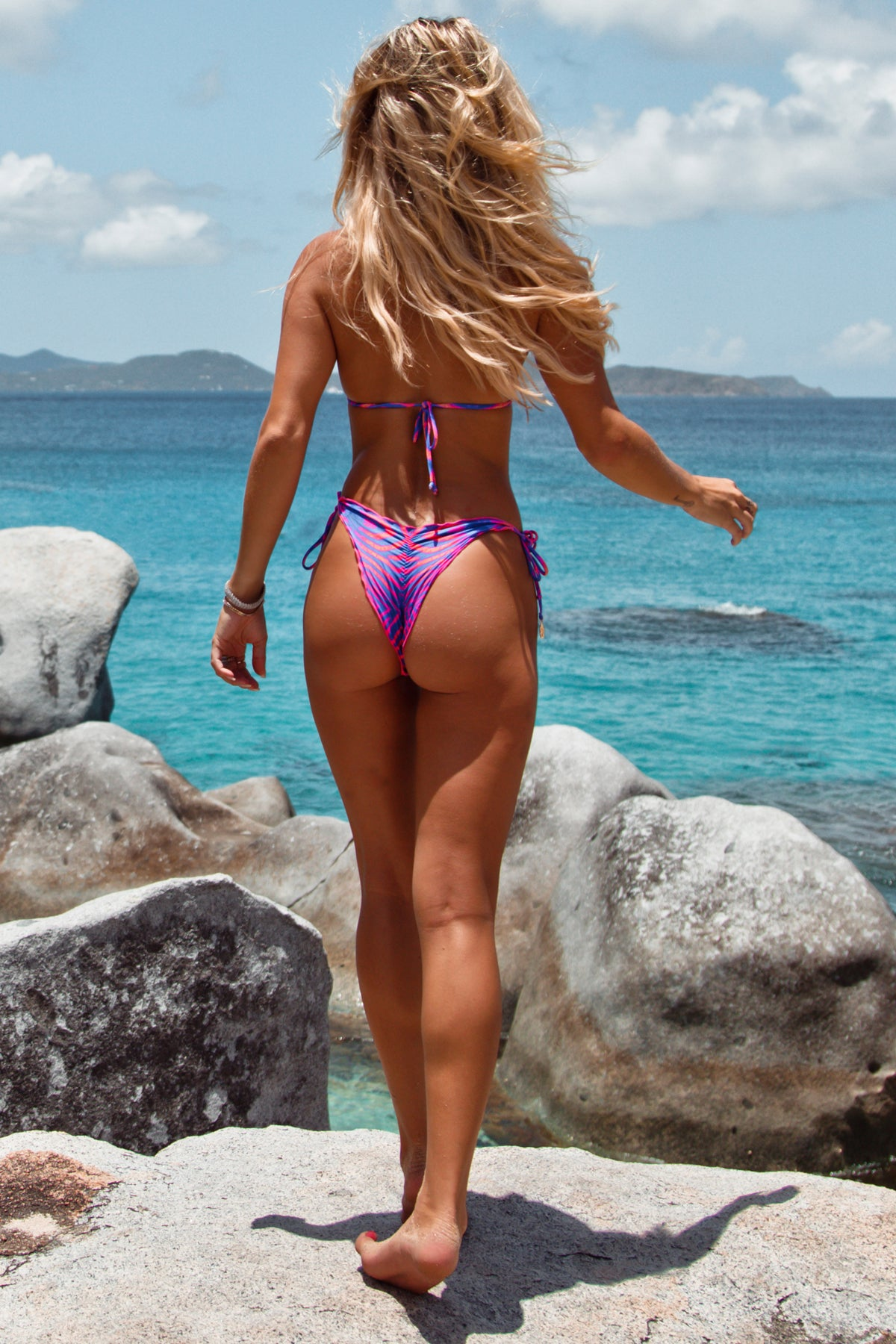 PUERTO AVENTURA - Wavey Triangle Top & Wavey Ruched Back Tie Side Bottom • Multicolor BVI
