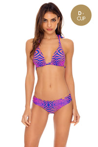 PUERTO AVENTURA - Triangle Halter Top & Seamless Full Ruched Back Bottom • Multicolor