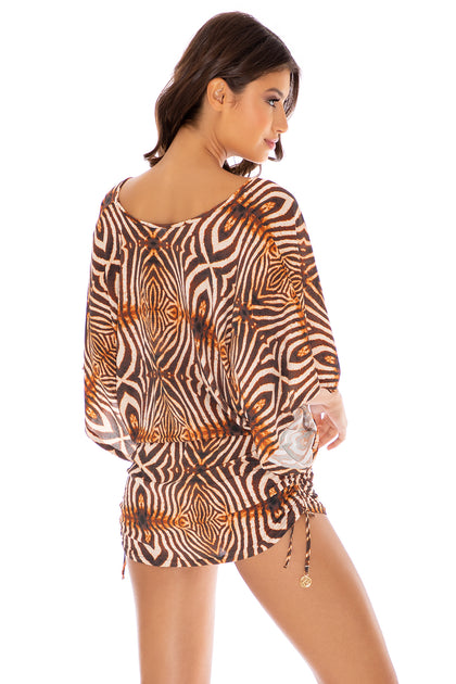 SAFARI DREAMS - Cabana V Neck Dress • Brown