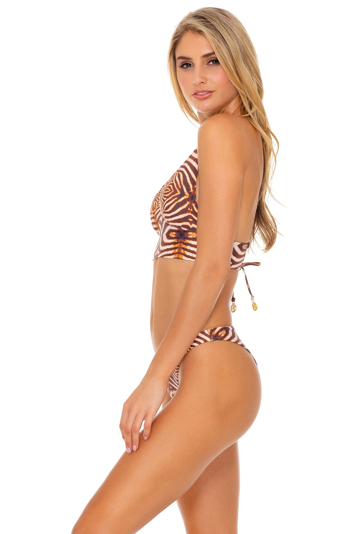 SAFARI DREAMS - Cross Back Bustier Top & High Leg Bottom • Brown