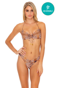 SAFARI DREAMS - Bandeau Top & Tab Side High Leg Thong Bottom • Brown