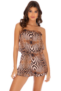 SAFARI DREAMS - Strapless Ruffle Romper • Brown