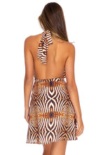 SAFARI DREAMS - Deep Plunge Mini Dress • Brown