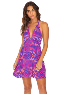 PUERTO AVENTURA - Deep Plunge Mini Dress • Multicolor