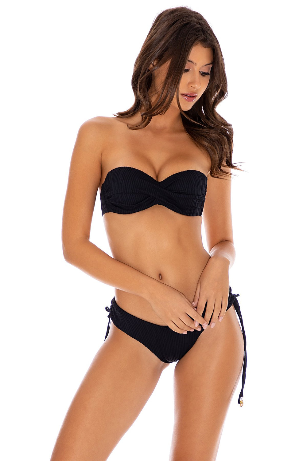 RIVER DANCE - Underwire Push Up Bandeau Top & Drawstring Side  Bottom • Black