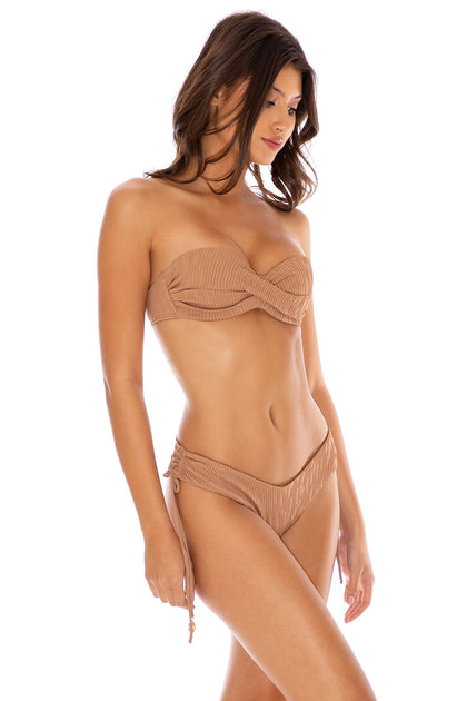 RIVER DANCE - Underwire Push Up Bandeau Top & Drawstring Side  Bottom • Coconut
