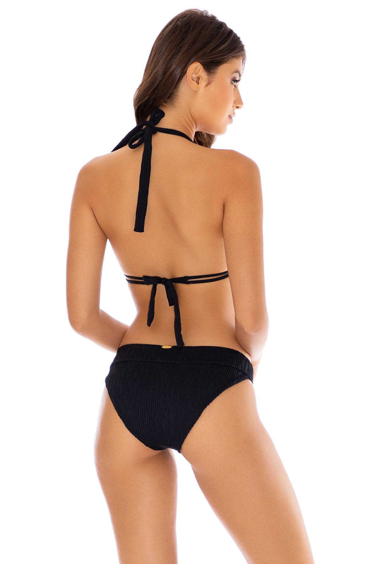 RIVER DANCE - Triangle Halter Top & Banded Full Bottom • Black