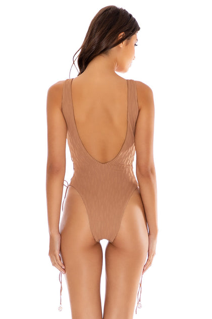 RIVER DANCE - Open Side One Piece Bodysuit • Coconut