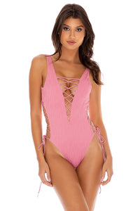 RIVER DANCE - Open Side One Piece Bodysuit • Blush
