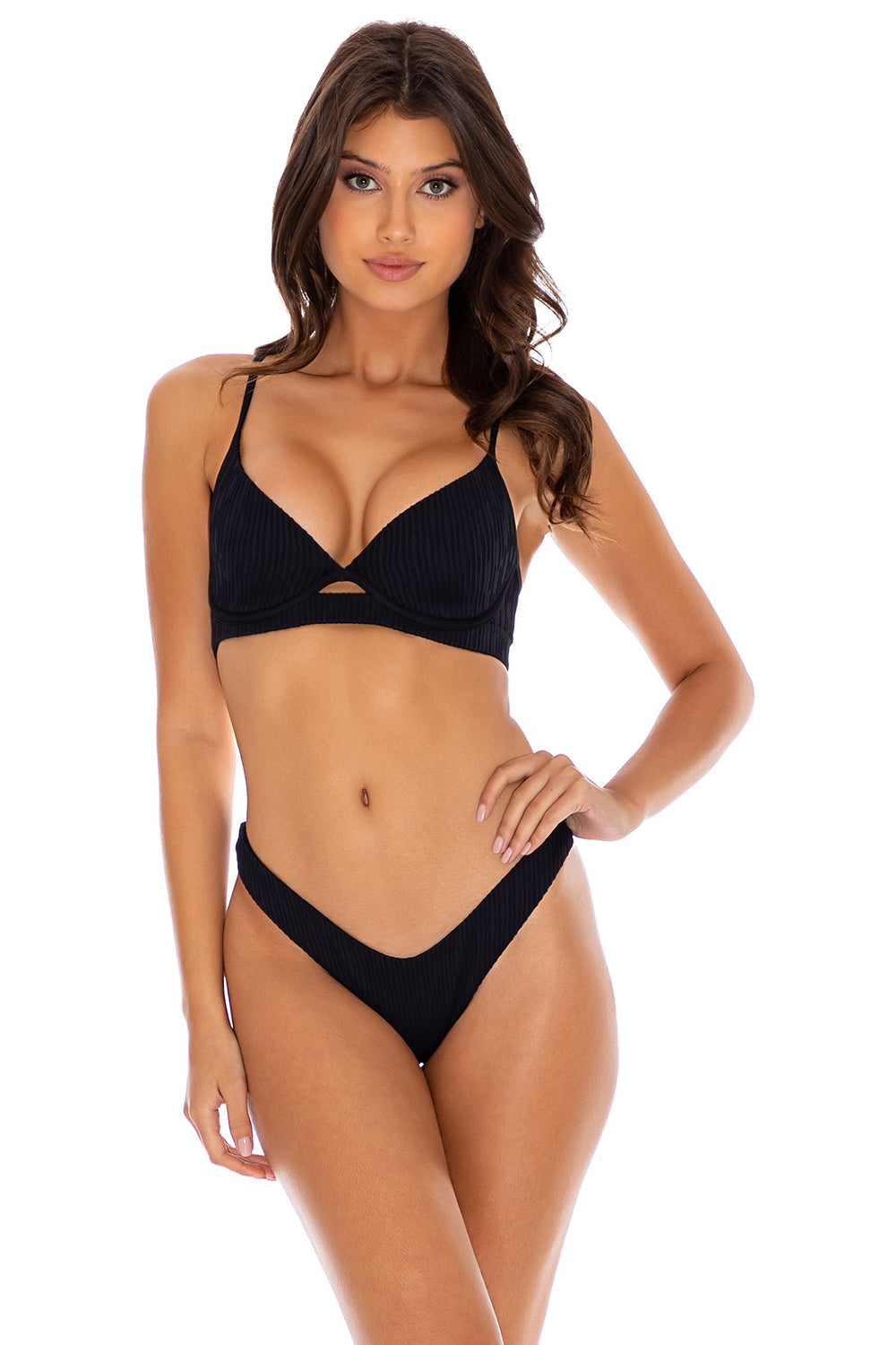 RIVER DANCE - Underwire Top & High Leg Bottom • Black