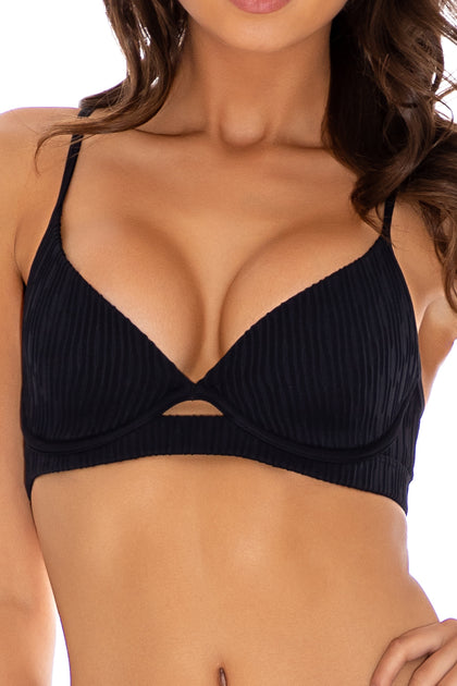 RIVER DANCE - Underwire Top & Drawstring Side  Bottom • Black Campaign