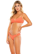 RIVER DANCE - V splice Bralette & V cut Hardware Seamless Wavy Back Ruched Bottom • Coastal Coral