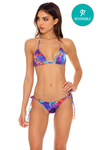 ISLA HOLBOX - Triangle Top & Wavey Ruched Back Tie Side Bottom • Multicolor