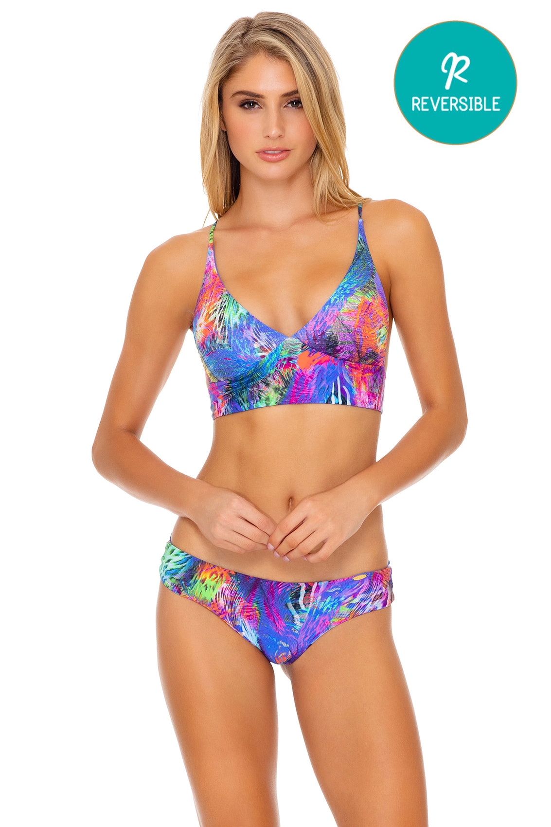 ISLA HOLBOX - Cross Back Bustier Top & Seamless Full Ruched Back Bottom • Multicolor (3924818329702)