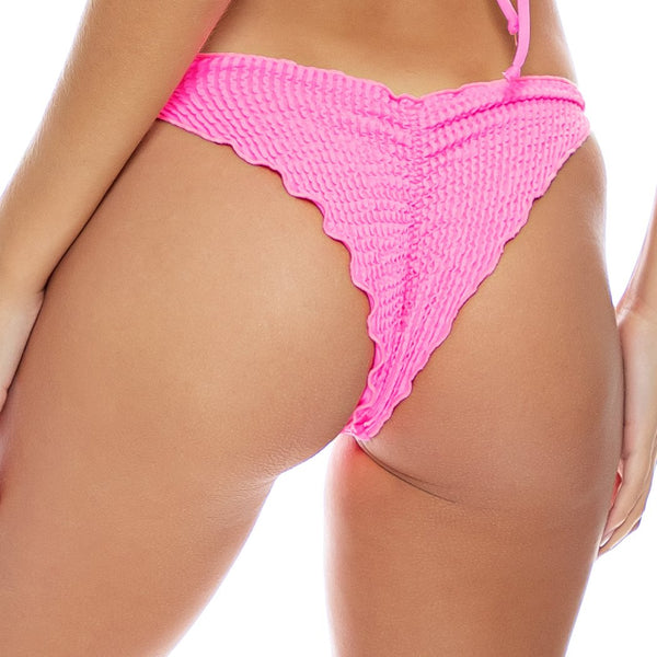 PURA CURIOSIDAD - Wavy Ruched Back Tie Side Bottom