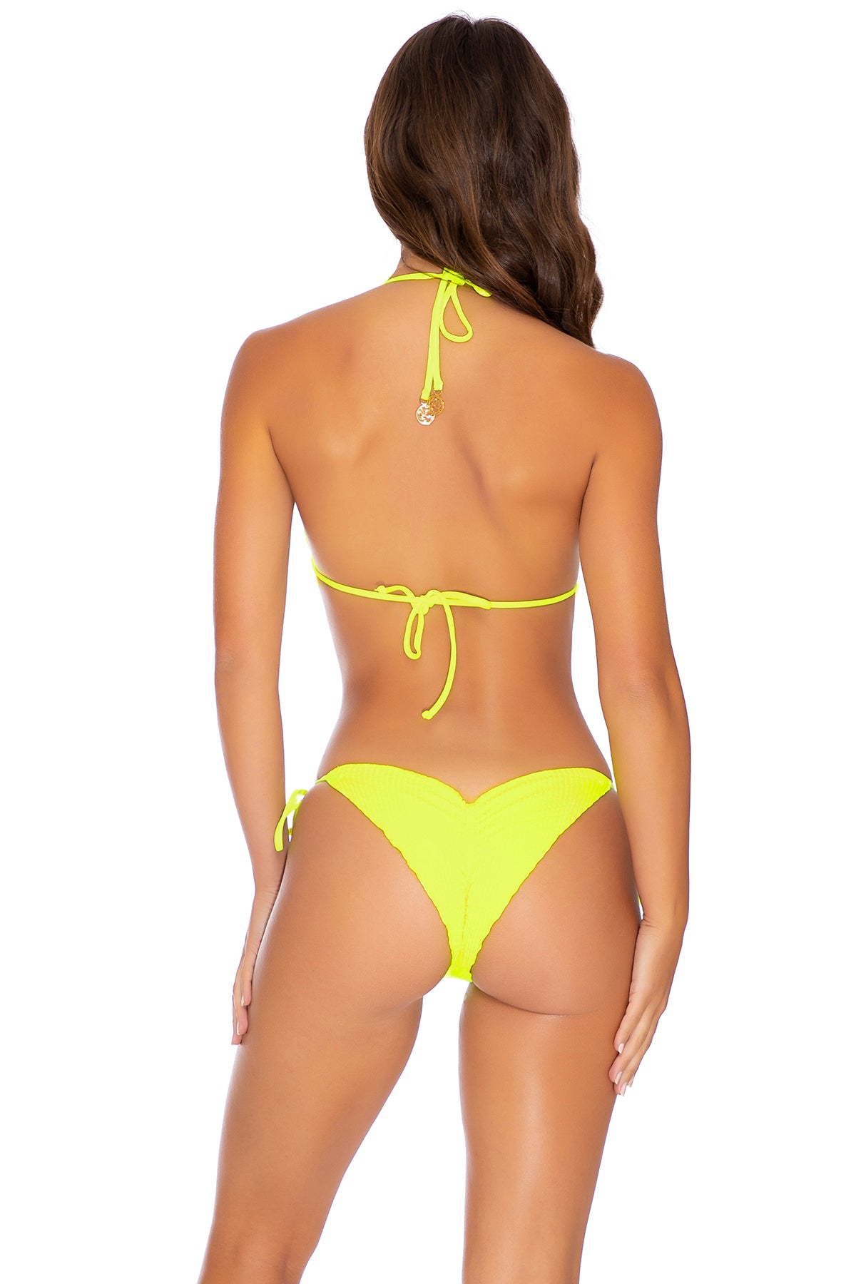 PURA CURIOSIDAD - Triangle Top & Wavey Ruched Back Tie Side Bottom • Neon Yellow