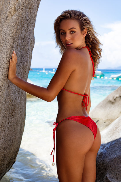 PURA CURIOSIDAD - Triangle Top & Wavey Ruched Back Tie Side Bottom • Chili Pepper BVI