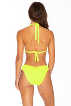 PURA CURIOSIDAD - Triangle Halter Top & Seamless Full Ruched Back Bottom • Neon Yellow