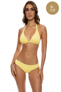 PURA CURIOSIDAD - Triangle Halter Top & Seamless Full Ruched Back Bottom • Sun Rays