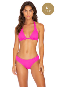 PURA CURIOSIDAD - Triangle Halter Top & Seamless Full Ruched Back Bottom • Pretty Pink (3937623638118)