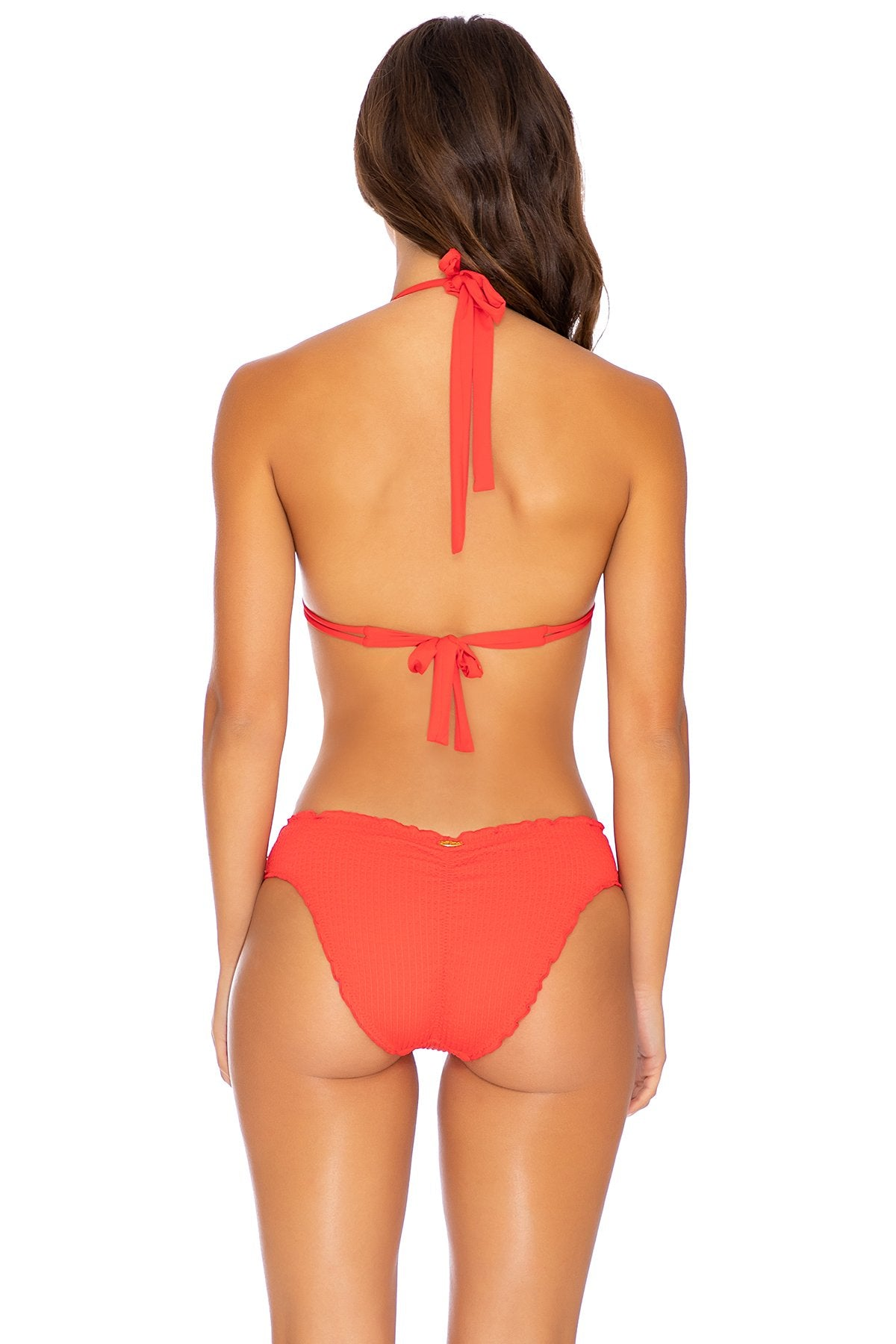 PURA CURIOSIDAD - Triangle Halter Top & Seamless Full Ruched Back Bottom • Chili Pepper