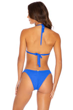 PURA CURIOSIDAD - Triangle Halter Top & Banded Moderate Bottom • Blue Lagoon