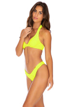 PURA CURIOSIDAD - Halter Underwire Top & Tab Side High Leg Thong Bottom • Neon Yellow