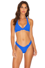 PURA CURIOSIDAD - Halter Underwire Top & Tab Side High Leg Thong Bottom • Blue Lagoon