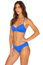 PURA CURIOSIDAD - Underwire Top & Seamless Full Ruched Back Bottom • Blue Lagoon