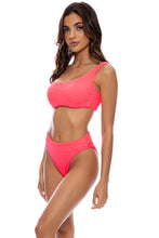 PURA CURIOSIDAD - One Shoulder Lace Back Top & High Leg Banded Waist Bottom • Guava