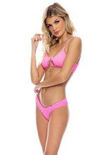 PURA CURIOSIDAD - Scoop Neck Cut Out Top & Seamless Wavy Ruched Back Bottom • Miami Vice Pink