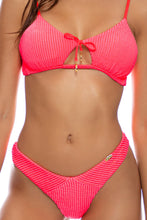 PURA CURIOSIDAD - Scoop Neck Cut Out Top & Tab Side High Leg Thong Bottom • Guava