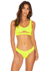 PURA CURIOSIDAD - Open Front Bralette & Seamless Wavey Ruched Back Bottom • Neon Yellow
