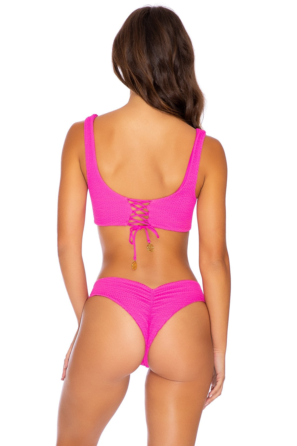 PURA CURIOSIDAD - Open Front Bralette & Seamless Wavey Ruched Back Bottom • Pretty Pink (3937623539814)