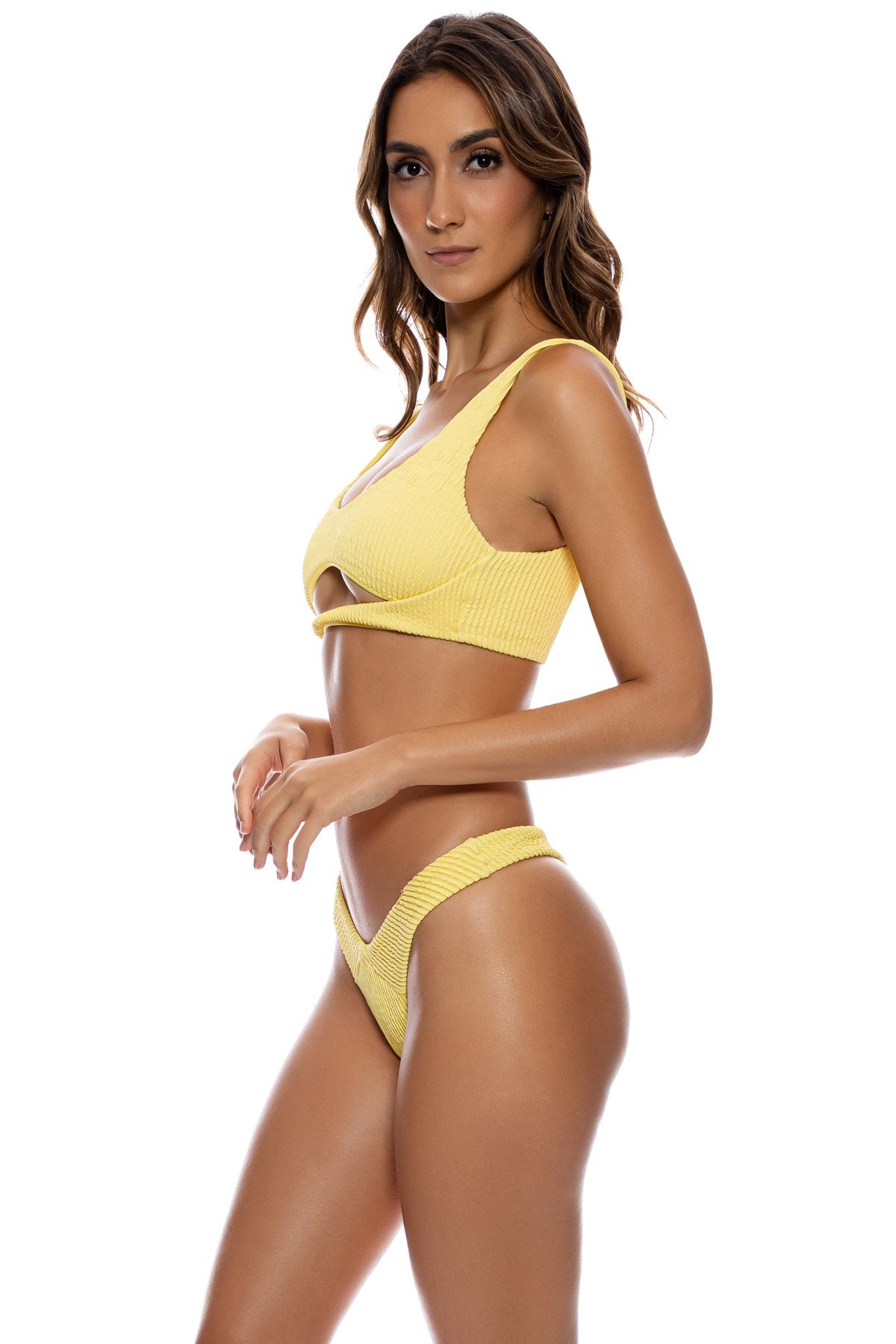 PURA CURIOSIDAD - Open Front Bralette & Tab Side High Leg Thong Bottom • Sun Rays
