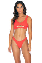 PURA CURIOSIDAD - Open Front Bralette & High Leg Bottom • Chili Pepper
