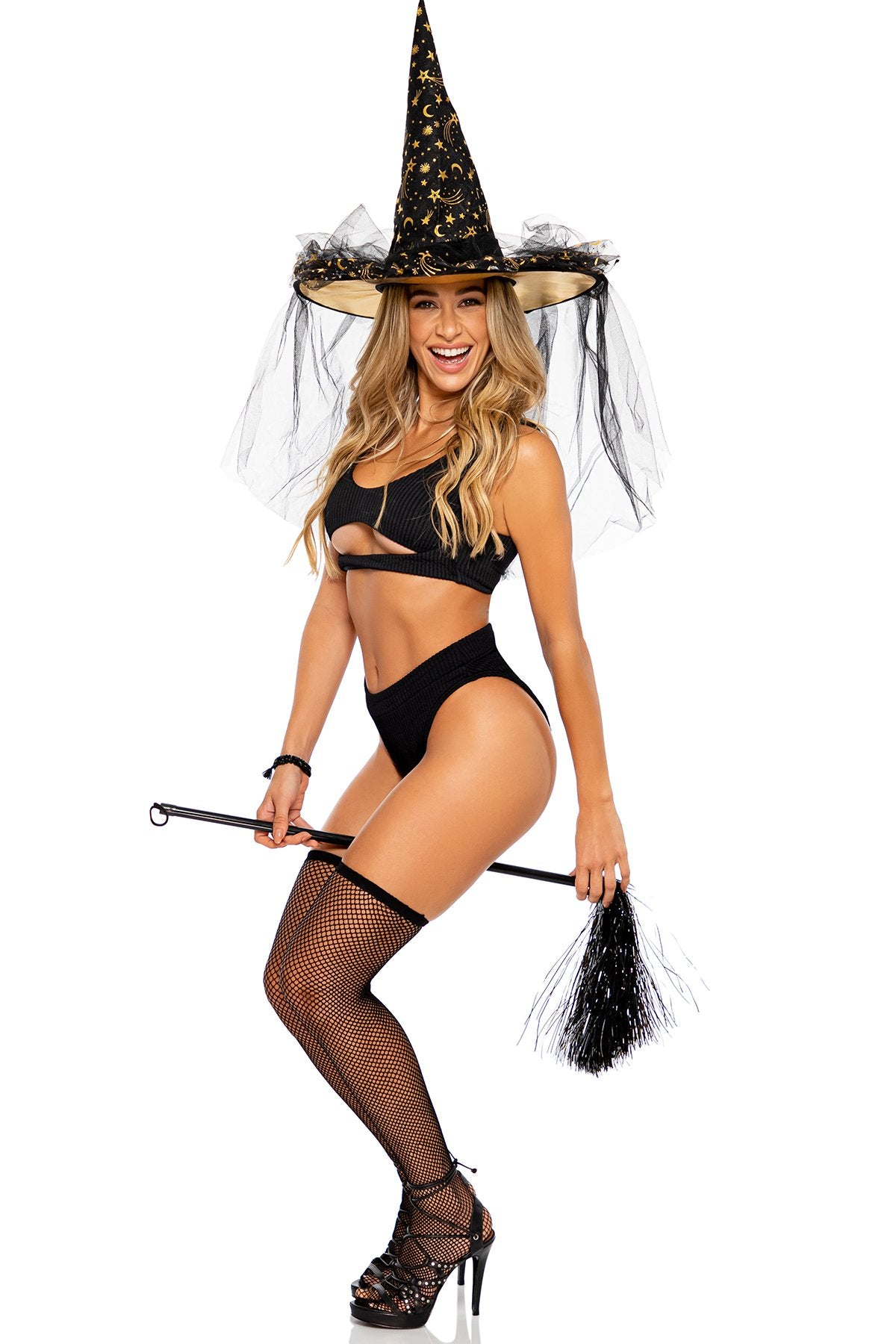 PURA CURIOSIDAD - Open Front Bralette & High Leg Banded Waist Bottom • Black Halloween