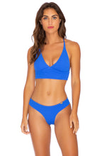 PURA CURIOSIDAD - Cross Back Bustier Top & Seamless Wavey Ruched Back Bottom • Blue Lagoon
